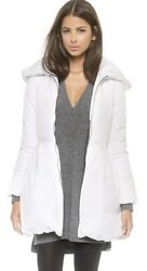 Alice + Olivia White Down Blakely Puffer Peplum Coat New With Tags Size Small