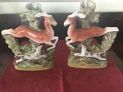 Stunning Pair of Antique Staffordshire Stag and Hound Spill Vases