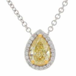 1.87ct Certified Canary Yellow Pear Shape Diamond Pave Pendant