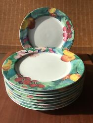 "Mikasa EXOTIC GARDEN- Dinner Plate 10.50"" Floral Maxima Fine China Set Of  9"
