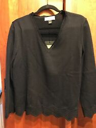NWT Rare St John Collect.Black Knit Long Sleeve Sweater Top XL