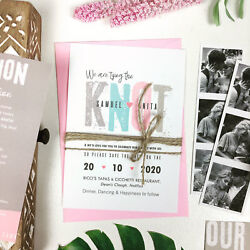 Handmade Save The Dates Wedding Invitations Day and Evening with Envelopes