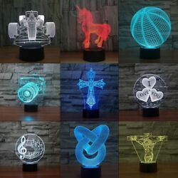 3D Illusion Decor Night Light 7 Colors USB LED Table Desk Lamp Gift Touch Switch $12.95
