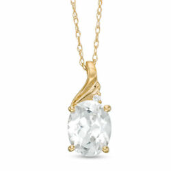 Oval Lab-Created White Sapphire Gemstone Diamond Accent Pendant 10K Yellow Gold