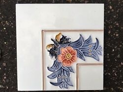 Tube-lined hand painted & glazed fireplace tile luxurious-Corner tile-have more!