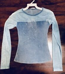 Girls Long Sleeve Shirt With Sheer Size Small 6 8 Years NEW Blue $5.00
