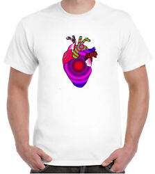 Psychedelic heart original artwork T shirt sixties psychedelia hippy biology GBP 10.99