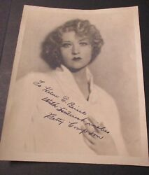 BETTY COMPSON Inscribed & Signed Photograph Ca 1925 - 1930 Actress & Producer