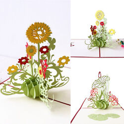 Christmas 3D Paper Greeting Card Carving Pop Up Valentine Sunflower Xmas Gifts $2.69