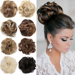 Real Soft Curly Messy Bun Hair Piece Scrunchie 100% Natural Hair Extensions US $6.59