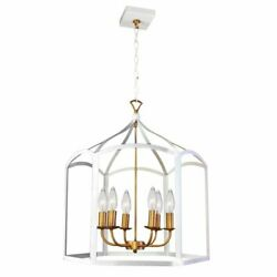 6 Light Chandelier White Finish $139.48