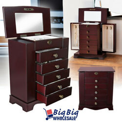 Wooden Jewelry Treasure Amoire Cabinet Storage Box Organizer Drawer W Mirror