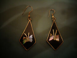 BLACK ONYX SILVER ABALONE SHELL INLAY BUTTERFLIES PIERCED EARRINGS MARKED MEXICO
