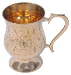 Handmade Best Quality Leaf Mughlai Design Brass Beer Mug Volume 415 5.0