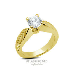 3.05ct F-I1 Ex-Cut Round AGI Natural Diamond 14ky Gold Vintage Engraved Ring 5mm