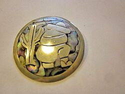 Sterling Silver Brooch or Pendant with inlaid Abalone Marked .925 Mexico (21-18)