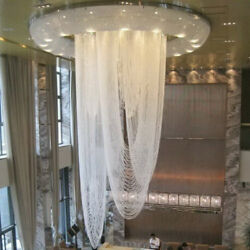 Large crystal chandelier Ceiling Fixture Curtain stair pendant led light lamp LX