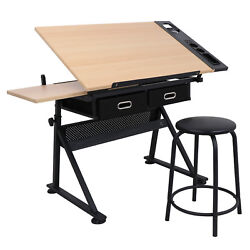 Drafting Desk Drawing Table Adjustable with Stool Arts amp; Crafts Creative Center $78.99