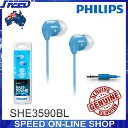 PHILIPS SHE3590BL Headphones Earphones - Extra Bass - BLUE Color - GENUINE