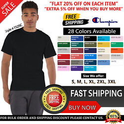 Champion Mens Cotton Polyester Crew Neck Short Sleeves T Shirt T525C S 3XL $9.28