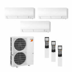 Mitsubishi Wall Mounted 3-Zone H2i System - 48000 BTU Outdoor - 6k + 18k + 1...