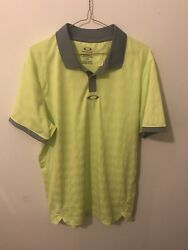 Oakley Yellow Golf Polo Button Grey Size Large L Highlighter Green $22.99