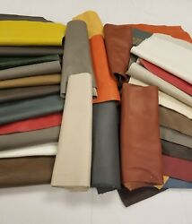 Premium Italian Cowhide Leather Scrap upholstery 1 lbs Large Size Pieces $19.99