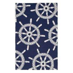 Liora Manne Ship Wheel Navy IndoorOutdoor Rug