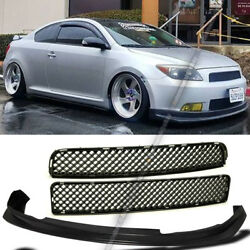 Fit tC 05-10 Upper Lower Glossy Black Mesh Grill Grille and PU Front Lip Combo