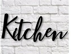 Kitchen metal sign Metal Wall Hanging Kitchen word sign Calligraphy Sign 16x7 $45.00