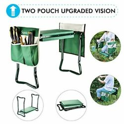 Compact FoldingHanging Padded Chair Garden Kneeler 2 Tool Storage Pockets