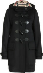 New BURBERRY Black Women's Check FINSDALE Wool DUFFLE Coat Jacket 14US XL to XXL