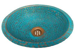 Mini Green Patina Aged Oxidized Copper Dome Renovation Bathroom Wash Basin Sink $149.00