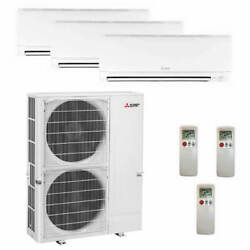Mitsubishi Wall Mounted 3-Zone System - 60000 BTU Outdoor - 15k + 18k + 18k ...