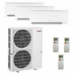 Mitsubishi Wall Mounted 3-Zone System - 60000 BTU Outdoor - 12k + 18k + 24k ...