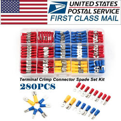 280Pcs Assorted Insulated Spade FemaleMale 10-22 Wire Connectors Terminal  Kits $10.95