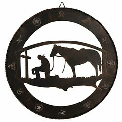 Cowboy Praying Horse Metal Wall Art Western Rustic Home Decor Living Room New $38.99