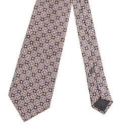 Stefano Ricci Gold amp; Blue Jacquard Star Grid Radiating Geometric 100% Silk Tie $48.75