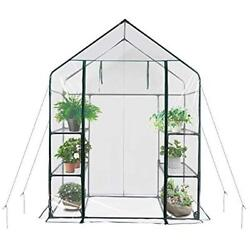 New Greenhouses Mini Walk-in Portable Flower Garden With Clear PVC Cover Metal