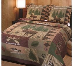 Lodge Decor King Comforter Set Quilt Bedspread Rustic Moose Log Cabin Bedding