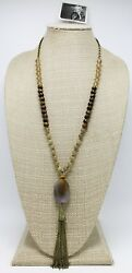 New Earthy Glass Bead amp; Stone Tassel Pendant Necklace by Anthropologie #ANT1 $14.99