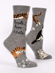 Blue Q Funny Novelty Women#x27;s Crew Socks People I Love: 1. Cats Gray OSFA $9.99