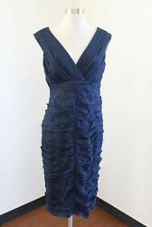 Tadashi Collection Navy Blue Silk Ruched Gathered Cocktail Evening Dress Size 10 $34.99