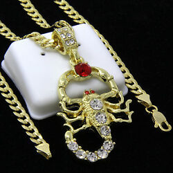 Mens Gold Plated Hip-Hop Red Ruby Cz Scorpion Pendant 24