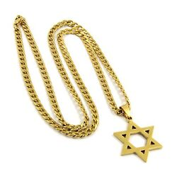 Mens Gold Stainless Steel 30quot; Cuban Curb Chain Jewish Star Of David Pendant S91 $9.90