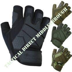 MENS ALPHA FINGERLESS TACTICAL GLOVES RUBBER KNUCKLE MICRO FIBRE ARMY AIRSOFT GBP 15.99