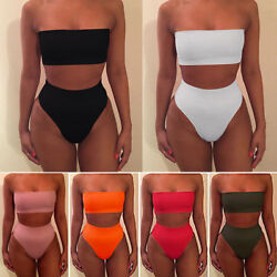 Women High Waisted Bikini Set Strapless Bandeau Swimwear Swimsuit Bathing Suit $8.68