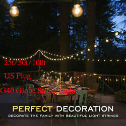 G40 100' 50' 25' LED String Lights Clear Outdoor Patio Globe String Lights