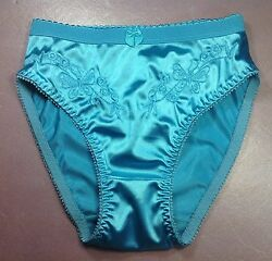 Women PantiesBriefs Bikinis size XL Sparkle Blue Shiny Satin FloralW decoration $13.99