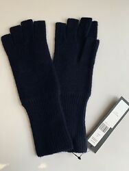 MARC JACOBS Classic Navy Blue Fingerless Cashmere Knit Gloves NWT